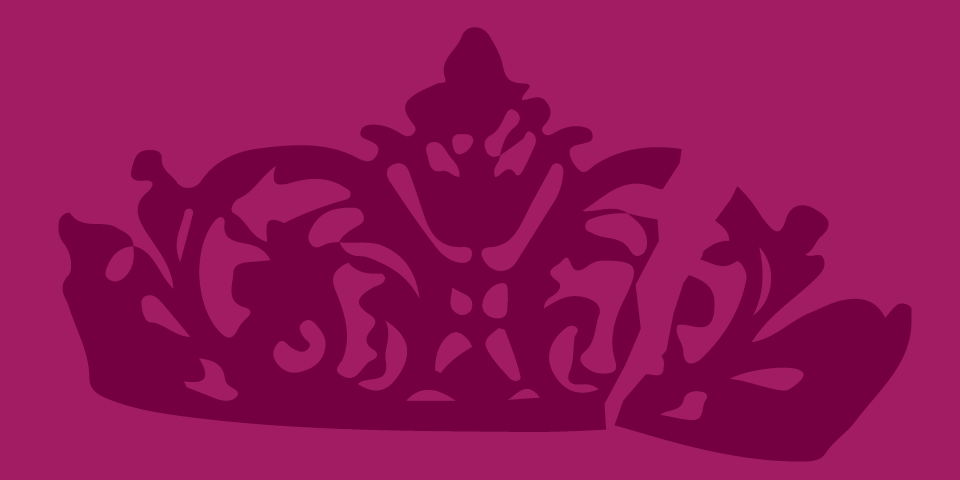 line illustration of a tiara crown - dark burgundy on bright plum background