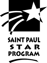 graphic logo - black & white with shooting star graphic and text