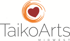 logo for Taiko Arts Midwest - styled deep red heart surrounded by deep orange circular strokes