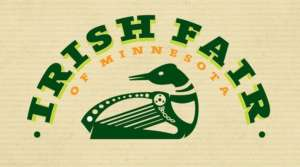 irish Fair of Minnesota - logo with green text and stylized loon on tan background