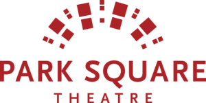 Graphic logo for Park Square Theatre - deep red type on white background
