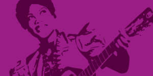 Illustration for Marie & Rosetta - African American woman playing guitar - dark purple line illustration on bright violet background