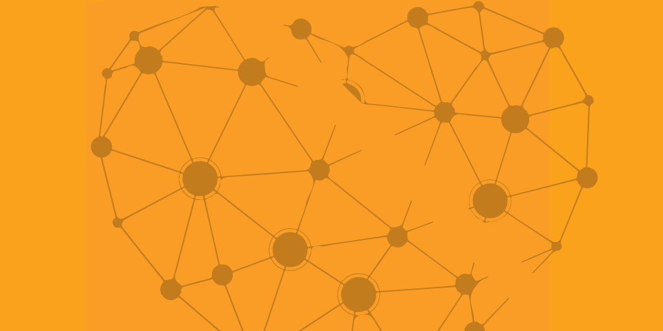 Line illustration of heart-shaped matrix of lines and dots - brown on bright orange-yellow background