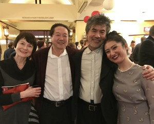 Martha B. Johnson, Rick Shiomi, David Henry Hwang and Stephanie Bertumen at opening night for Flower Drum Song (Photo by Connie Shaver)