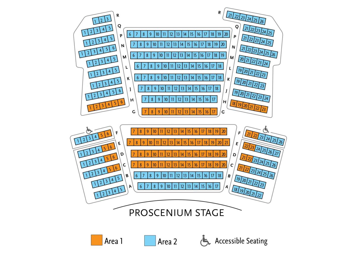 Graphic Seating Chart for Proscenium Stage - Please phone the ticket office at 651.291.7005 for assistance with accessibility and seat selection