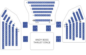 Graphic seating chart for Triple Espresso at Park Square Theatre - for accessibility assistance, please call the box office at 651.291.7005