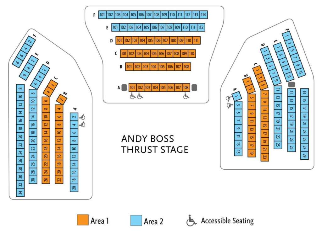 Graphic Seating Chart for Boss Thrust Stage - Please phone the ticket office at 651.291.7005 for assistance with accessibility and seat selection