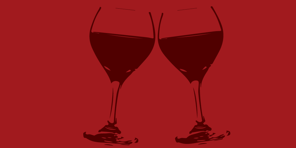 Sometimes There's Wine - graphic of two wine glasses - burgundy on deep red background