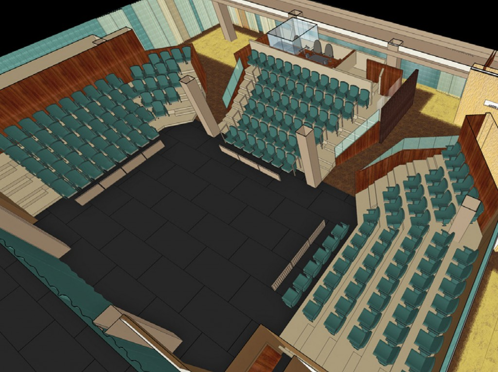 Architectural drawing of the Andy Boss Thrust Stage theater from above