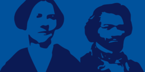 Illustration of two historical characters - dark blue on a medium blue background