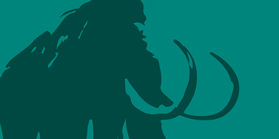 Line Illustration of dark green wooly mammoth on medium bluish-green background