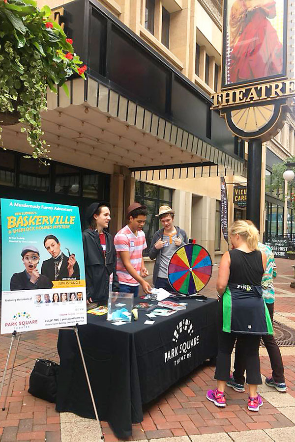 Ambassadors offering ticket deals to Baskerville this summer on the Plaza in front of Park Square Theatre